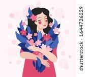 cute woman holding a bouquet of ... | Shutterstock .eps vector #1644726229