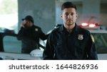 Portrait Serious Young Man Cops ...