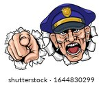 an angry policeman police... | Shutterstock . vector #1644830299