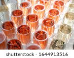 Rows Of Glasses Of Red Prosseco ...