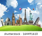 travel. the world monument... | Shutterstock . vector #164491610