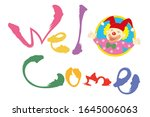 colorful welcome title with... | Shutterstock .eps vector #1645006063