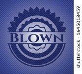 blown badge with jean texture.... | Shutterstock .eps vector #1645018459