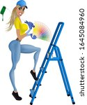 cheerful painter girl starts... | Shutterstock .eps vector #1645084960