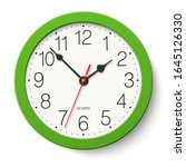 round wall clock with green... | Shutterstock . vector #1645126330