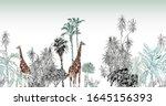 seamless border giraffe and... | Shutterstock .eps vector #1645156393