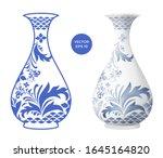 Blue Vase Isolated On White...