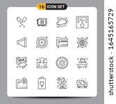 16 black icon pack outline... | Shutterstock .eps vector #1645165729