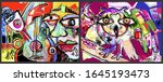 set of two pop art original... | Shutterstock .eps vector #1645193473