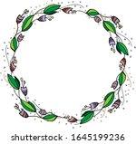 a wreath of unusual flowers.... | Shutterstock .eps vector #1645199236