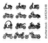 Motorcycle Icons Set. Vector...