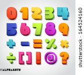 3d alphabet colorful numbers.... | Shutterstock .eps vector #164524160