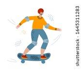 a man on a skateboard. hand... | Shutterstock .eps vector #1645311283