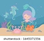 Mermaid Seahorses Crab Coral...