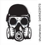 skeleton wearing gas mask hand...   Shutterstock .eps vector #1645425973