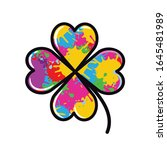 multi colored clover flat style ... | Shutterstock .eps vector #1645481989