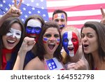 group of happy usa soccer fans... | Shutterstock . vector #164552798