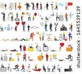 set of 72 flat cartoon... | Shutterstock .eps vector #1645539139