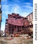 Ship On Shipyard. Shipbuilding...