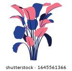 bold foilage illustration on white background multi colour textures in foilage. flower graphical design