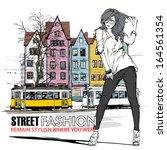 vector illustration of a pretty ... | Shutterstock .eps vector #164561354