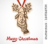 reindeer in holiday clothes.... | Shutterstock .eps vector #164566934
