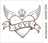 heart with banner and crown.... | Shutterstock .eps vector #164567204