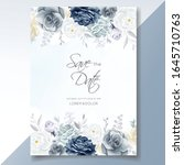 navy blue floral wedding... | Shutterstock .eps vector #1645710763