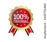 100  original badge ribbon seal | Shutterstock .eps vector #1645751683