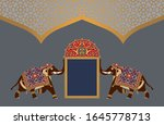 arabic floral template with... | Shutterstock . vector #1645778713
