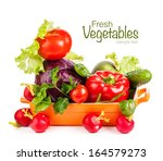 fresh vegetables in bowl... | Shutterstock . vector #164579273