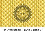 wings icon inside golden emblem ... | Shutterstock .eps vector #1645818559