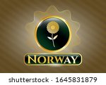 gold badge with flower icon... | Shutterstock .eps vector #1645831879