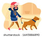 young guy is walking his dog.... | Shutterstock . vector #1645886890