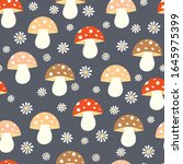 seamless pattern with mushrooms ... | Shutterstock .eps vector #1645975399