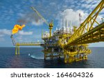 oil and gas platform with gas... | Shutterstock . vector #164604326