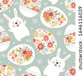 seamless pattern with easter... | Shutterstock .eps vector #1646116039