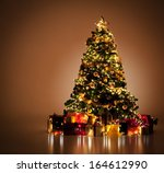 beautifully decorated christmas ... | Shutterstock . vector #164612990