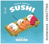vintage sushi poster design... | Shutterstock .eps vector #1646177563