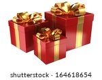 group of red gifts. isolated on ... | Shutterstock . vector #164618654