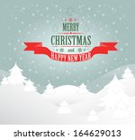 merry christmas greeting card... | Shutterstock . vector #164629013