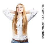 young woman standing with hands ... | Shutterstock . vector #164636048