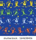 seamless pattern of dancing... | Shutterstock .eps vector #164638406