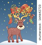 christmas card with reindeer.... | Shutterstock .eps vector #164642723