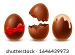 realistic dark chocolate eggs... | Shutterstock .eps vector #1646439973