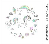 vector cartoon cute unicorns... | Shutterstock .eps vector #1646446153