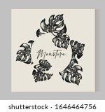 monstera leaf frame  graphic... | Shutterstock .eps vector #1646464756