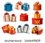 set of colorful retro gift... | Shutterstock .eps vector #164649809