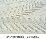 tracks in sand - stock photo