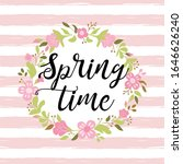 floral wreath on pink striped... | Shutterstock . vector #1646626240